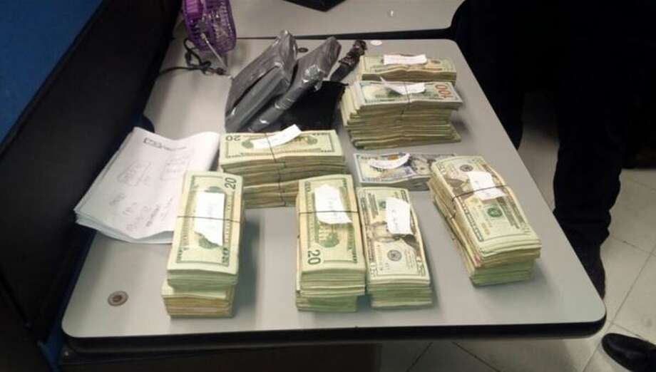 Shown are $120,000 recently seized by Mexican authorities at World Trade Bridge.  Photo: Courtesy