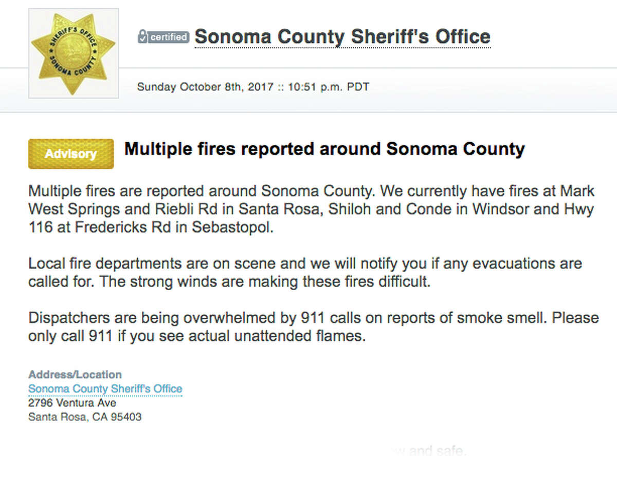 These were the first Nixle alerts sent by the Sonoma County Sheriff's Office on Oct. 9 during the Tubbs Fire.