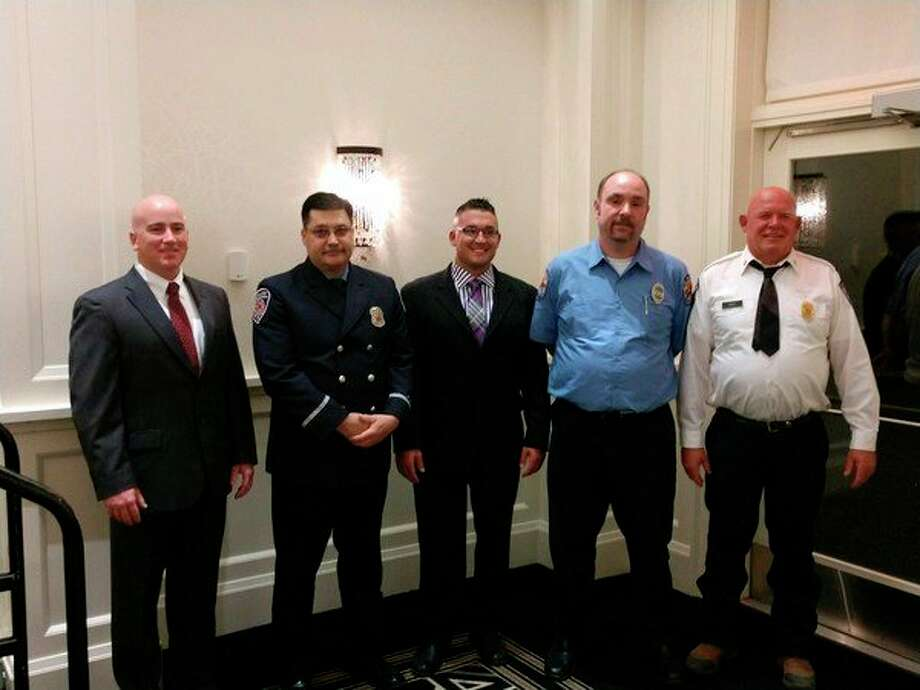Recently recognized as the 2017 Carl and Esther Gerstacker Police and Firefighters of the Year are, from left, Midland County Sheriff's Office Sgt. Shannon Guilbeaux, Midland Fire Department Lt. Jim Heading, Midland Police Detective Mark Stefaniak and Lee Township Fire Department Firefighter S. Scott Cronkright and Assistant Chief James Bass.