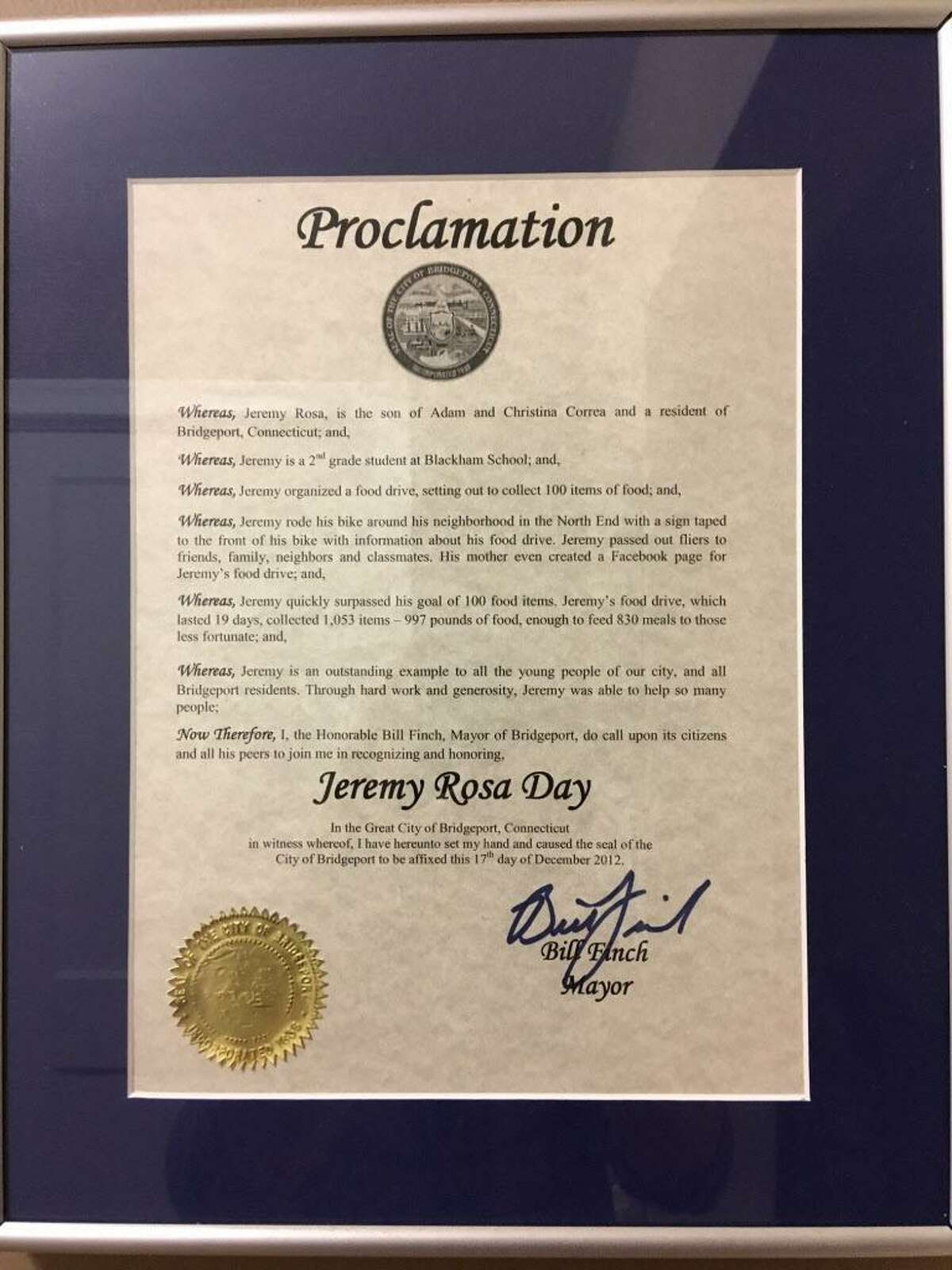 The proclamation Jeremy Rosa got at age 7 when he ran his first food drive