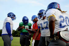 West Brook players run drills during football practice on Wednesday. The Bruins head west tonight to take on The Woodlands, who beat them 72-7 last year. Photo taken Tuesday 10/10/17 Ryan Pelham/The Enterprise