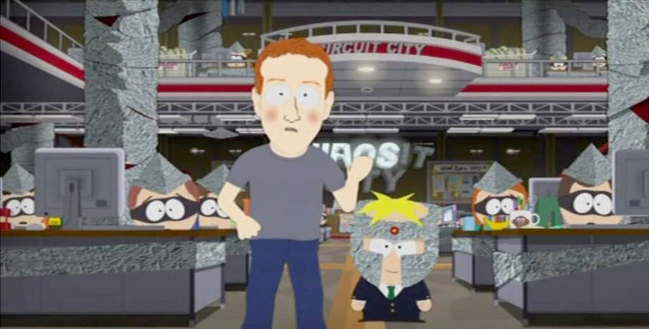 """""""South Park"""" skewers Facebook's Mark Zuckerberg, with Professor Chaos by his side. Photo: Comedy Central / Comedy Central"""