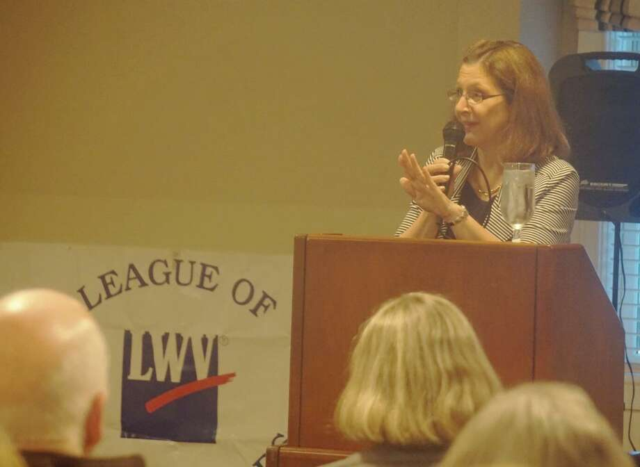 Greenwich Public Schools Superintendent Jill Gildea spoke at the Greenwich Water Club on Wednesday at a League of Women Voters event. Photo: Emilie Munson