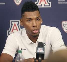Arizona guard Allonzo Trier speaks during a press conference at McKale Center in Tucson, Ariz., Thursday, Oct. 5, 2017. (Mamta Popat/Arizona Daily Star via AP)