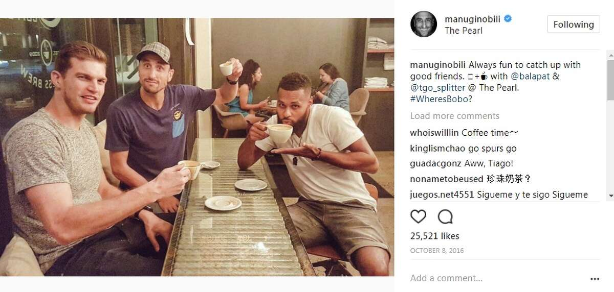 Where Manu Ginobili has been spotted around town: Local Coffee at The Pearl: Manu Ginobili posted this photo of him with Patty Mills and former Spur Tiago Splitter. He posted: