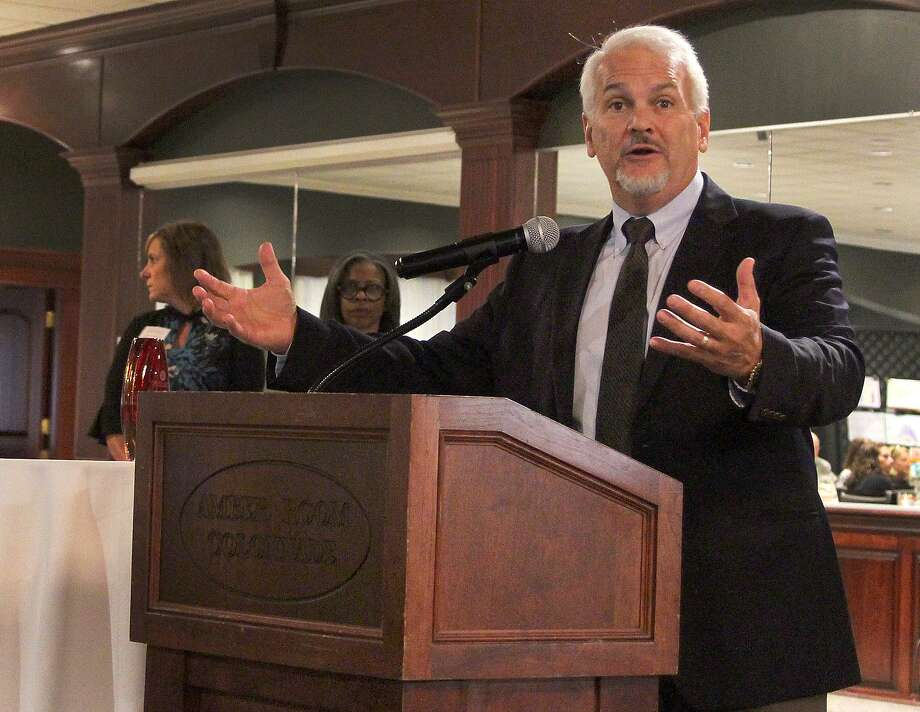 Mike Bontempo of Branson Ultrasonics Corporation accepts an award for his company at the annual Cultural Alliance of Western Connecticut Business Supports the Arts breakfast event held Thursday, Oct. 12, 2017, in Danbury, Conn. Photo: Chris Bosak / Hearst Connecticut Media / The News-Times