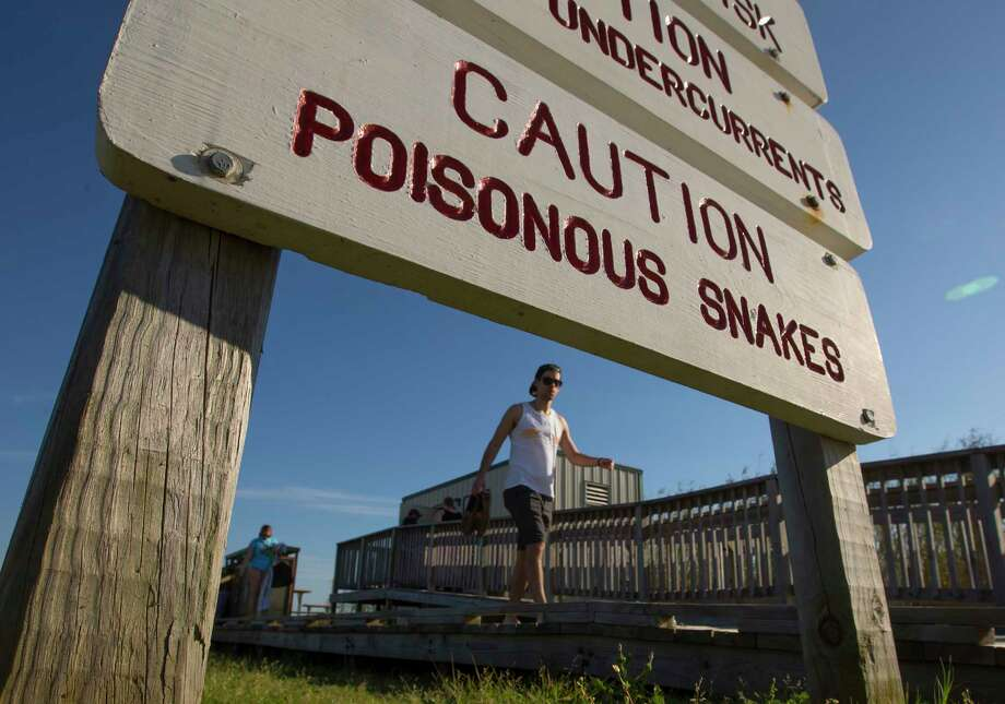 A sign warns of poisonous snakes as visitors walk from the beach at Galveston Island State Park Saturday, March 5, 2016. Photo: Stuart Villanueva/The Daily News, Stuart Villanueva/The Galveston County Daily News / © 2016 Stuart Villanueva/The Galveston County Daily News