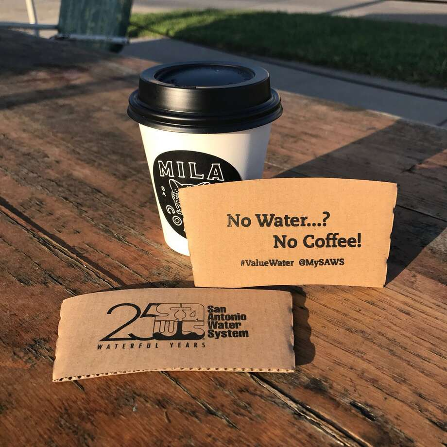 The San Antonio Water System is giving away free coffee at Press Cafe in observance of Imagine A Day Without Coffee on Oct. 12, 2017. Photo: SAWS/Twitter