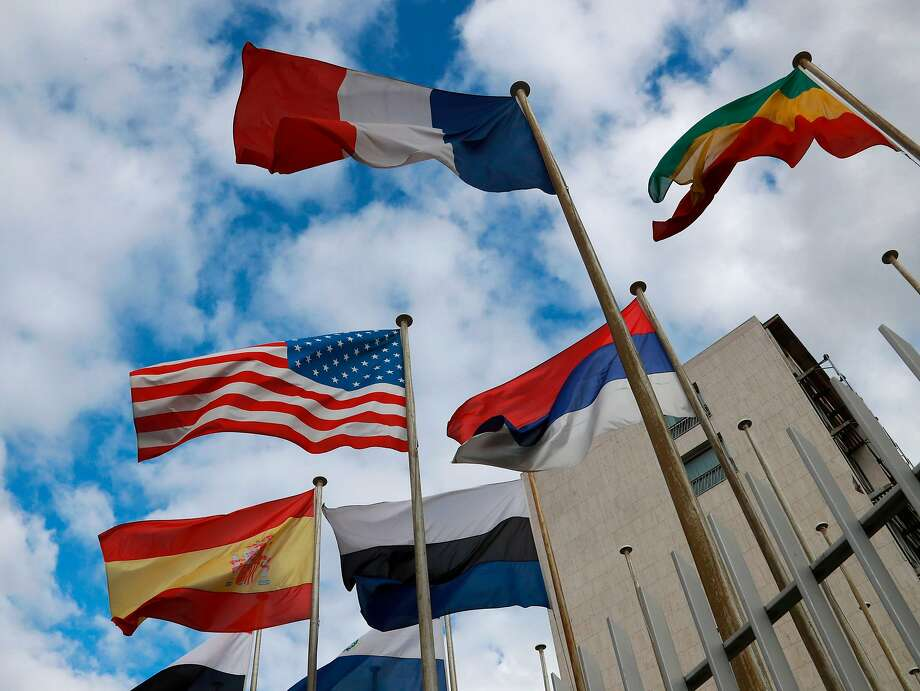 Flags of UNESCO members fly at headquarters in Paris. The U.S. stopped funding the agency in 2011. Photo: JACQUES DEMARTHON, AFP/Getty Images