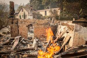 The burned out remains of the Mayacamas Vineyard and winery tasting rooms after flames from the Nuns fire moved through the Mt Veeder area in Napa, California, USA 11 Oct 2017.
