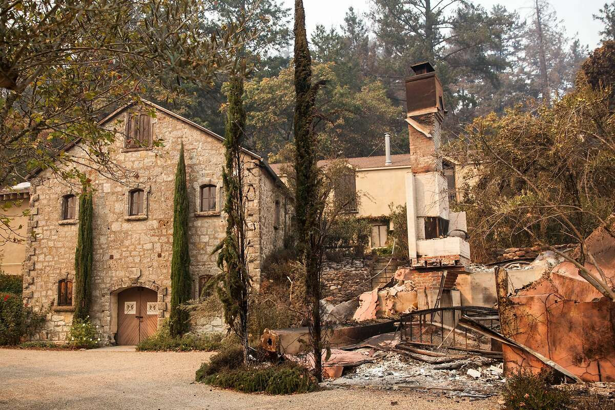 The still standing wine cellar and burned out remains of the Mayacamas Vineyard and winery tasting rooms after flames from the Nuns fire moved through the Mt Veeder area in Napa, California, USA 11 Oct 2017.