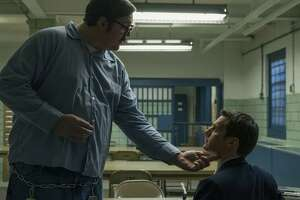 """Cameron Britton (left) and Jonathan Groff star in the Netflix original crime series """"Mindhunter."""""""