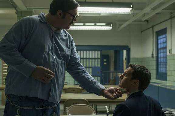 "Cameron Britton (left) and Jonathan Groff star in the Netflix original crime series ""Mindhunter."""