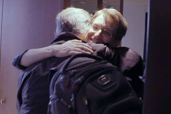 "Edward Snowden (right) meets Larry Lessig in ""Finding Snowden,"" a documentary directed by Flore Vasseur."