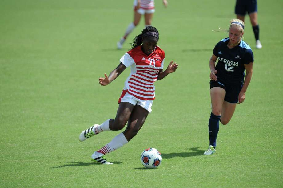 Kempner graduate and University of Louisiana at Lafayette senior Denice Emokpae scored three goals through the Ragin' Cajuns' first 14 matches. She is one goal from matching her career high. Photo: University Of Louisiana At Lafayette Athletics, Photographer / ©JBradKemp2017