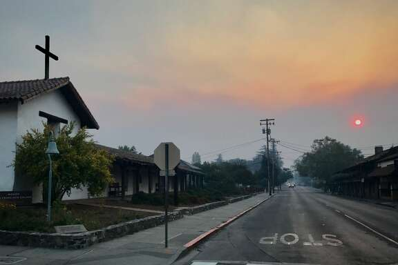 The scene as wildfire threatens downtown Sonoma on Thursday, October 12, 2017.