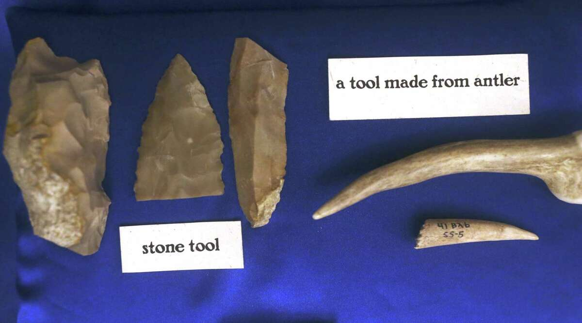 Mission period items were part of a one-day display of artifacts unearth in past excavation at the Alamo, Tuesday, Oct. 12, 2017. The display was in celebration of Texas Archeology Month.