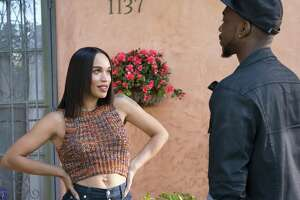 """Cleopatra Coleman as Sadie and Jay Pharoah as Floyd Mooney in """"White Famous,"""" a comedy that's frequently offensive to women and out of step with current sensibilities."""