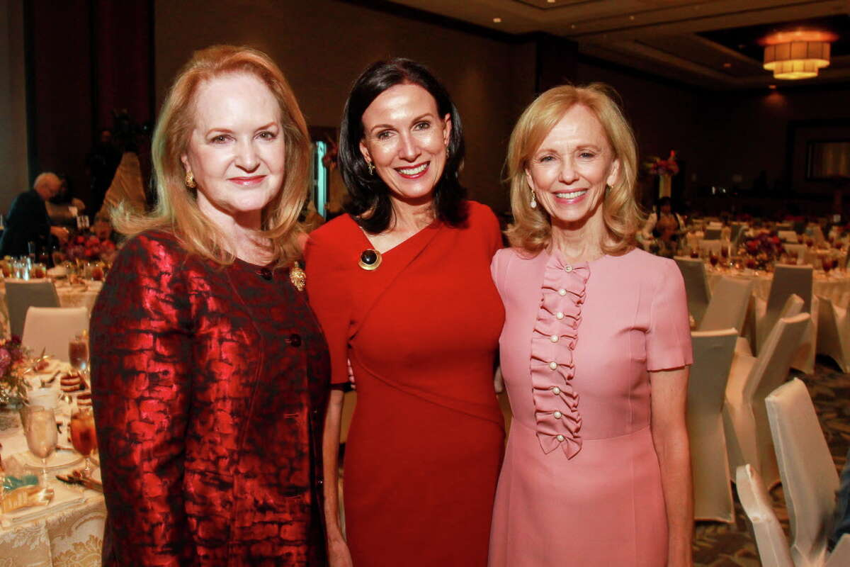 Sandy Barrett, from left, Karen Love and Susan Sarofim at the Memorial Hermann Razzle Dazzle luncheon at the Westin Memorial City. (For the Chronicle/Gary Fountain, October 12, 2017)