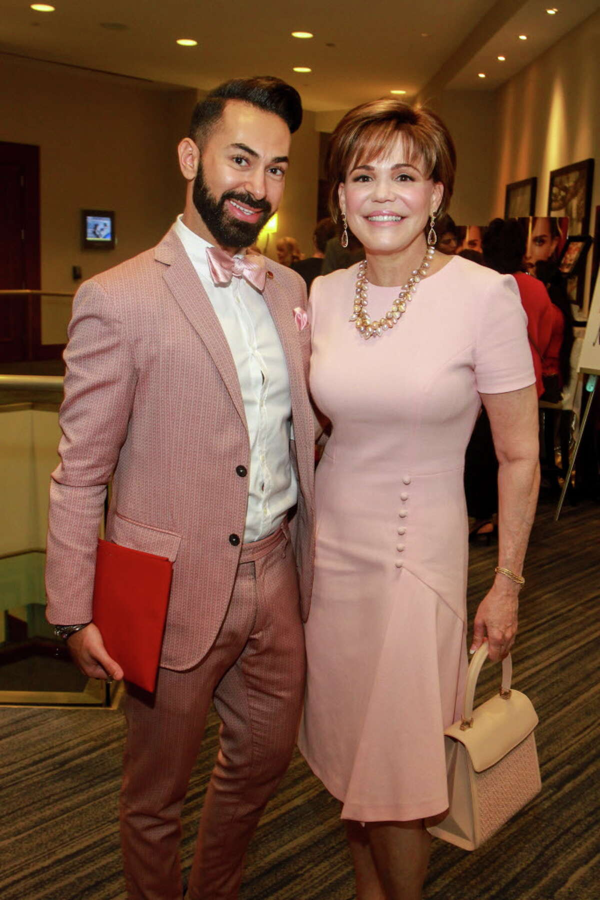 Fady Armanious and honoree Hallie Vanderhider at the Memorial Hermann Razzle Dazzle luncheon at the Westin Memorial City. (For the Chronicle/Gary Fountain, October 12, 2017)