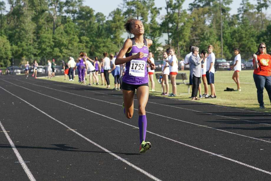 Montgomery's Halena Rahmaan competes in the District 12-6A cross country championships on Thursday at College Park High School. Photo: Ted Bell