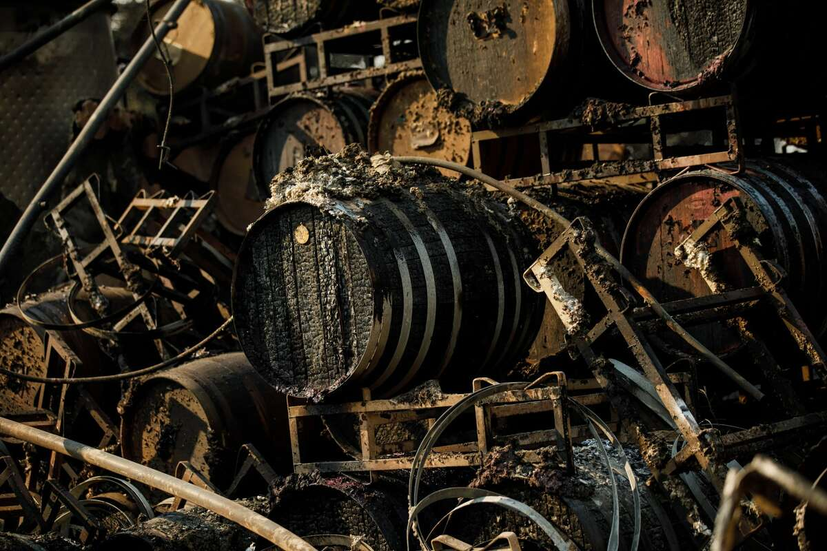 Wine making equipment sits in ruin after wildfire destroyed a winery at Paradise Ridge Winery on Oct. 11, 2017, in Santa Rosa.