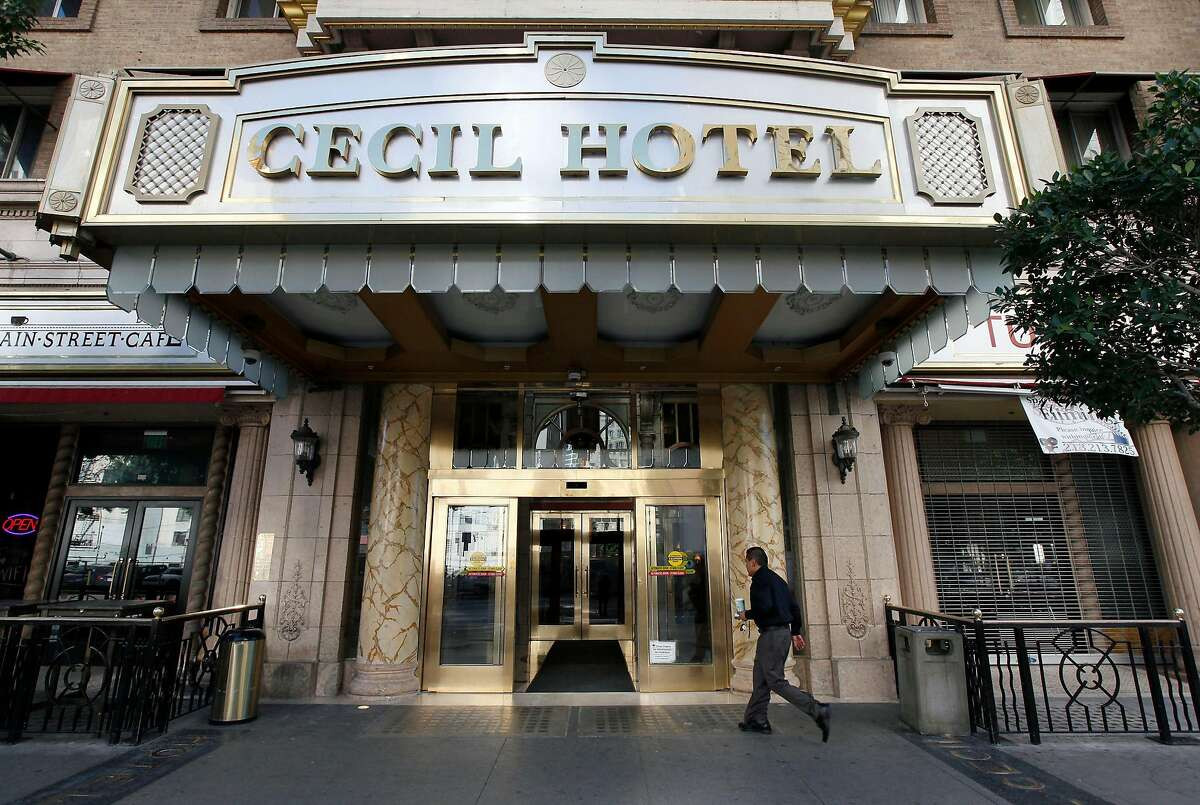 A visitor arrives at the Cecil on Wednesday Feb. 20, 2013 after the disappearance of Elisa Lam.