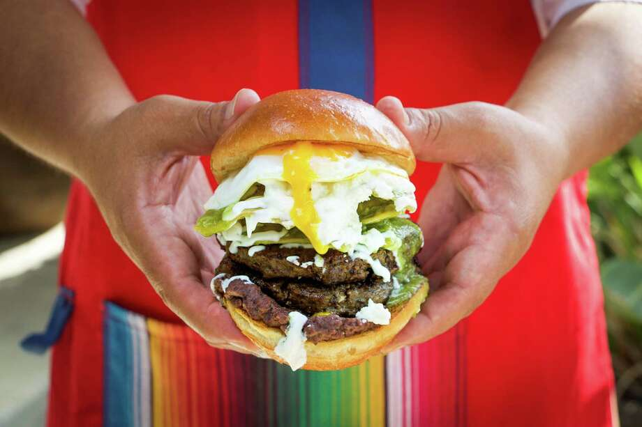 One of the menu items at Burgerteca, a new restaurant from chef Johnny Hernandez. Photo: Courtesy Josie Rees