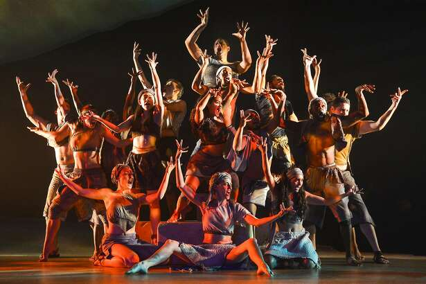 "Members of the cast evoke the sacred burning bush in TheatreWorks' ""The Prince of Egypt."""