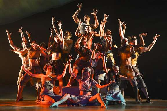 """Members of the cast evoke the sacred burning bush in TheatreWorks' """"The Prince of Egypt."""""""
