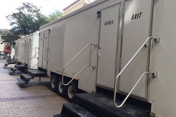 Luxury bathroom trailers set up outside the Harris County Administration Building for prospective jurors.