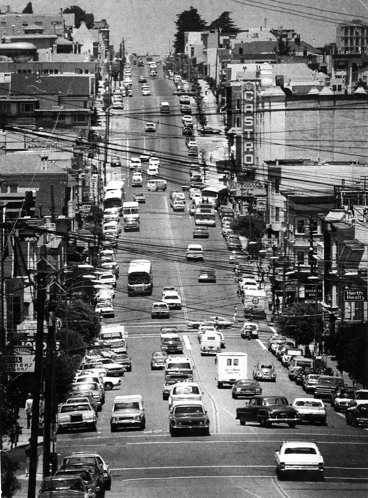 Castro Street in the Castro District June 23, 1977, the Castro Theater sign is on right