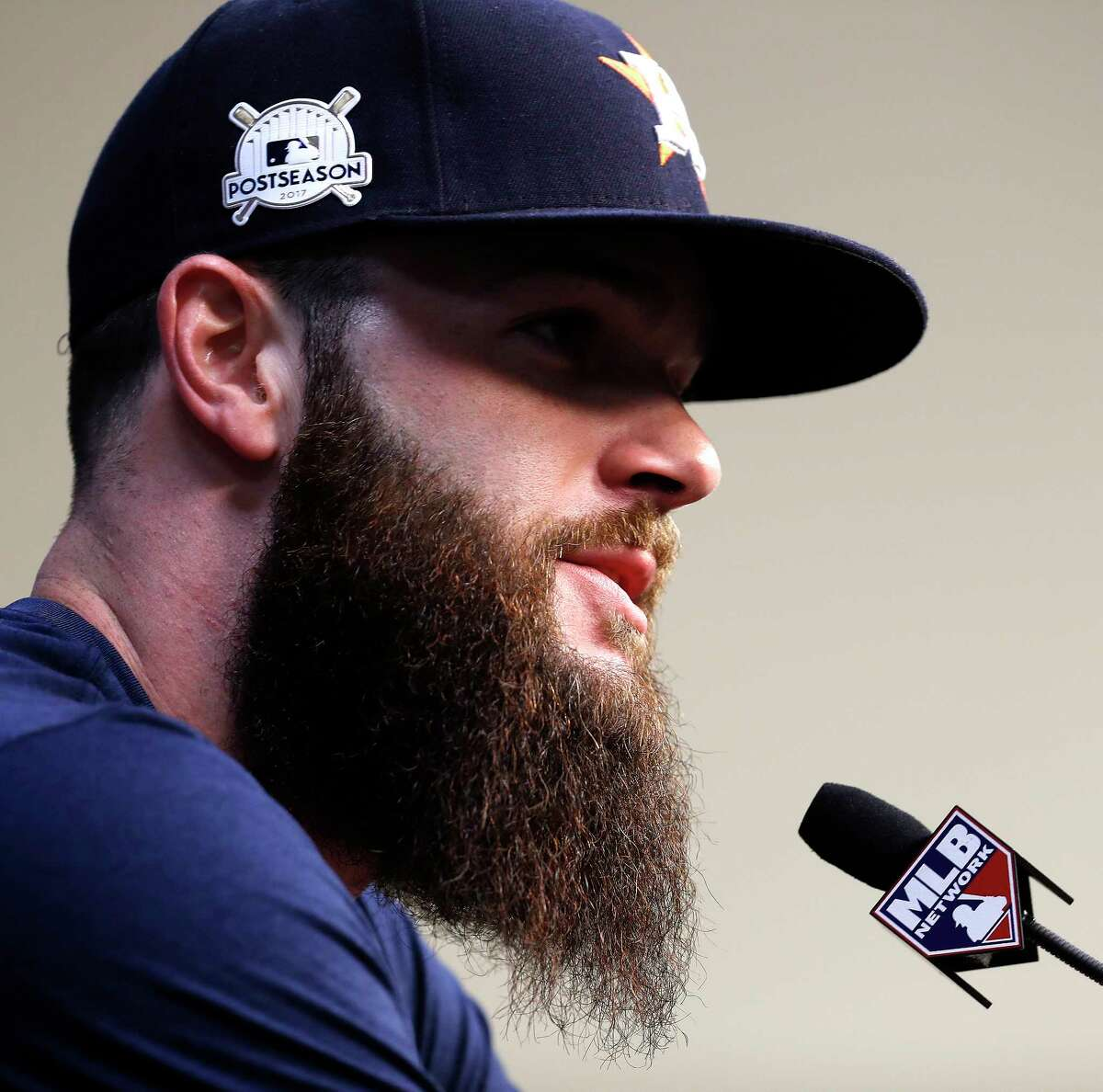 Houston Astros Dallas Keuchel the starting pitcher for the Game 1 of the ALCS speaks to the media at Minute Maid Park, Thursday, Oct. 12, 2017, in Houston , ahead of Game 1 of the ALCS.