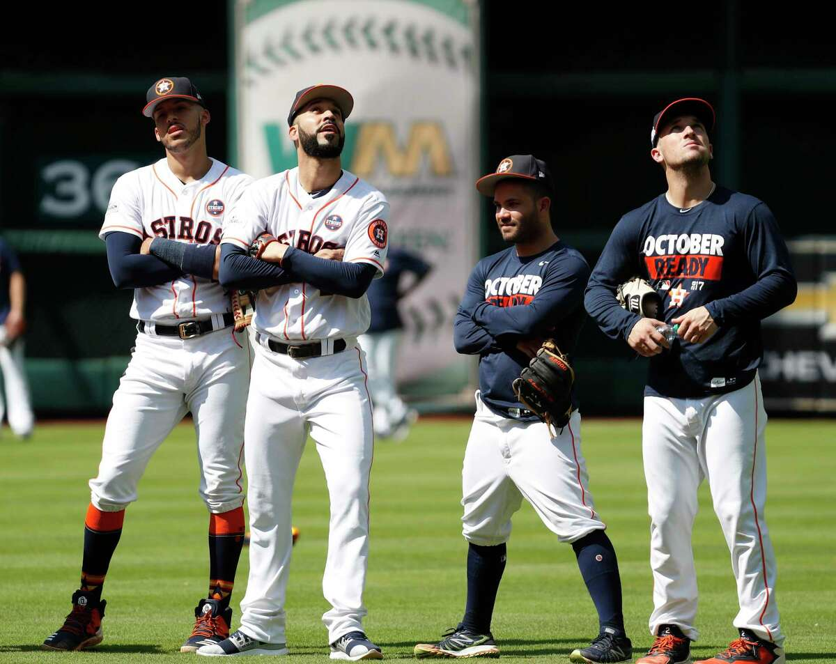 Houston Astros Carlos Correa, Marwin Gonzalez, Jose Altuve, and Alex Bregman during workouts at Minute Maid Park, Thursday, Oct. 12, 2017, in Houston , ahead of Game 1 of the ALCS.