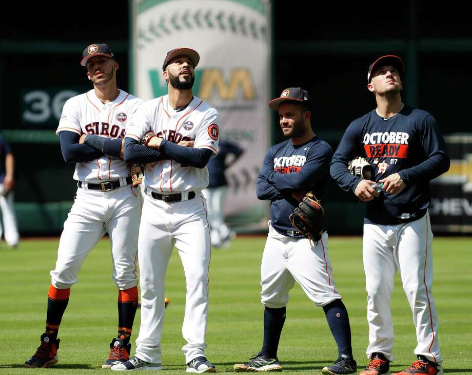 Houston Astros Carlos Correa, Marwin Gonzalez, Jose Altuve, and Alex Bregman during workouts at Minute Maid Park, Thursday, Oct. 12, 2017, in Houston , ahead of Game 1 of the ALCS. Photo: Karen Warren, Houston Chronicle / @ 2017 Houston Chronicle