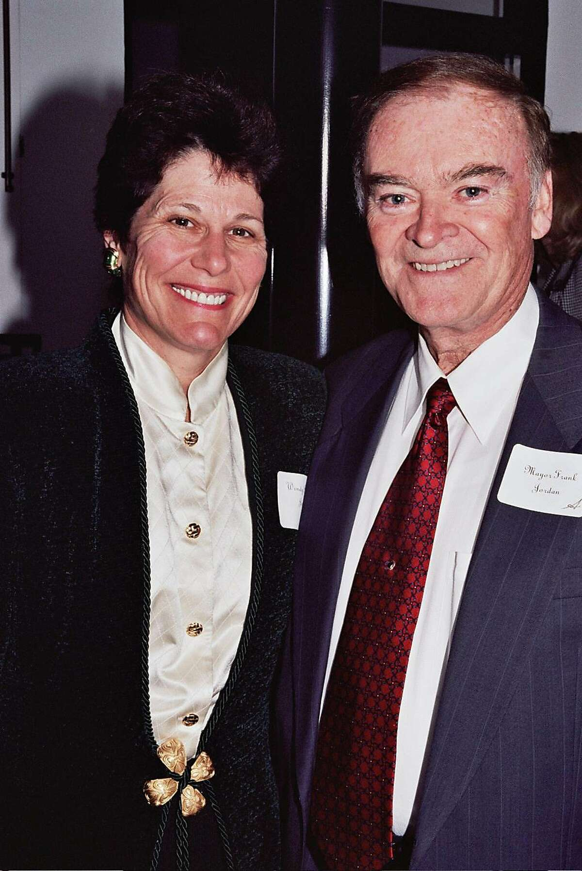 FILE-- Former San Francisco Mayor Frank Jordan and wife Wendy Paskin in 2006. They home to a Sonoma County fire.