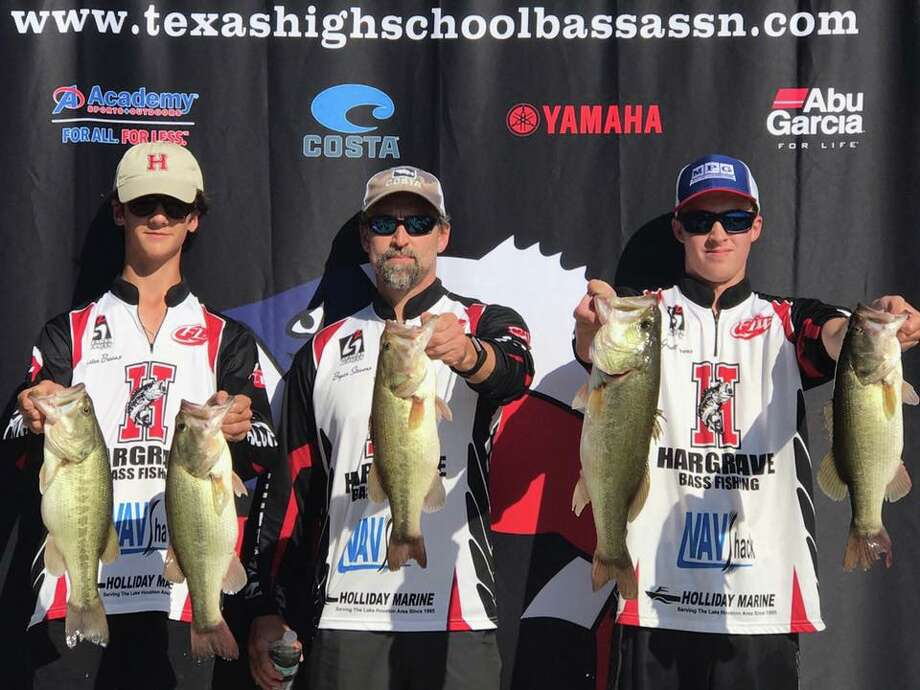 Hargrave High School Bass Fishing Team members Ruston Breaux and Garrett Stevens finished as the top individual team at the Texas High School Bass Association tournament at Lake Livingston, with Garrett's Dad Bryan, who served as boat captain Photo: Hargrave Bass Fishing Team Facebook Page