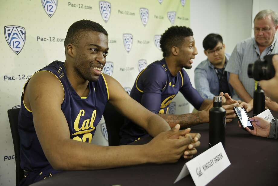 California center Kingsley Okoroh, left, and forward Marcus Lee, right, answer questions during the Pac-12's NCAA college basketball media day, Thursday, Oct. 12, 2017, in San Francisco. (AP Photo/Eric Risberg) Photo: Eric Risberg, Associated Press