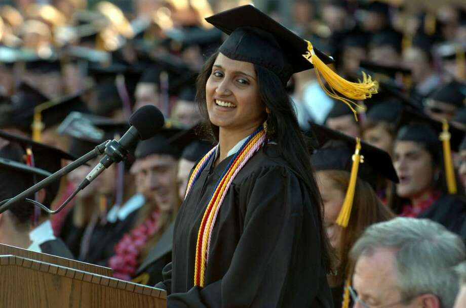 Fairfield Warde High School graduate Ashley Pallathra gives the Class of 2010 Address. Photo: Christian Abraham / Connecticut Post