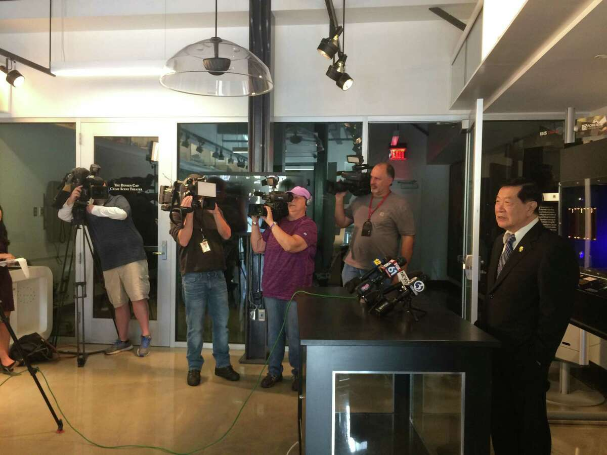 Henry C. Lee discusses the Las Vegas mass shooting with reporters in the entry hall of the Henry C. Lee College of Criminal Justice and Forensic Sciences at University of New Haven Thursday.