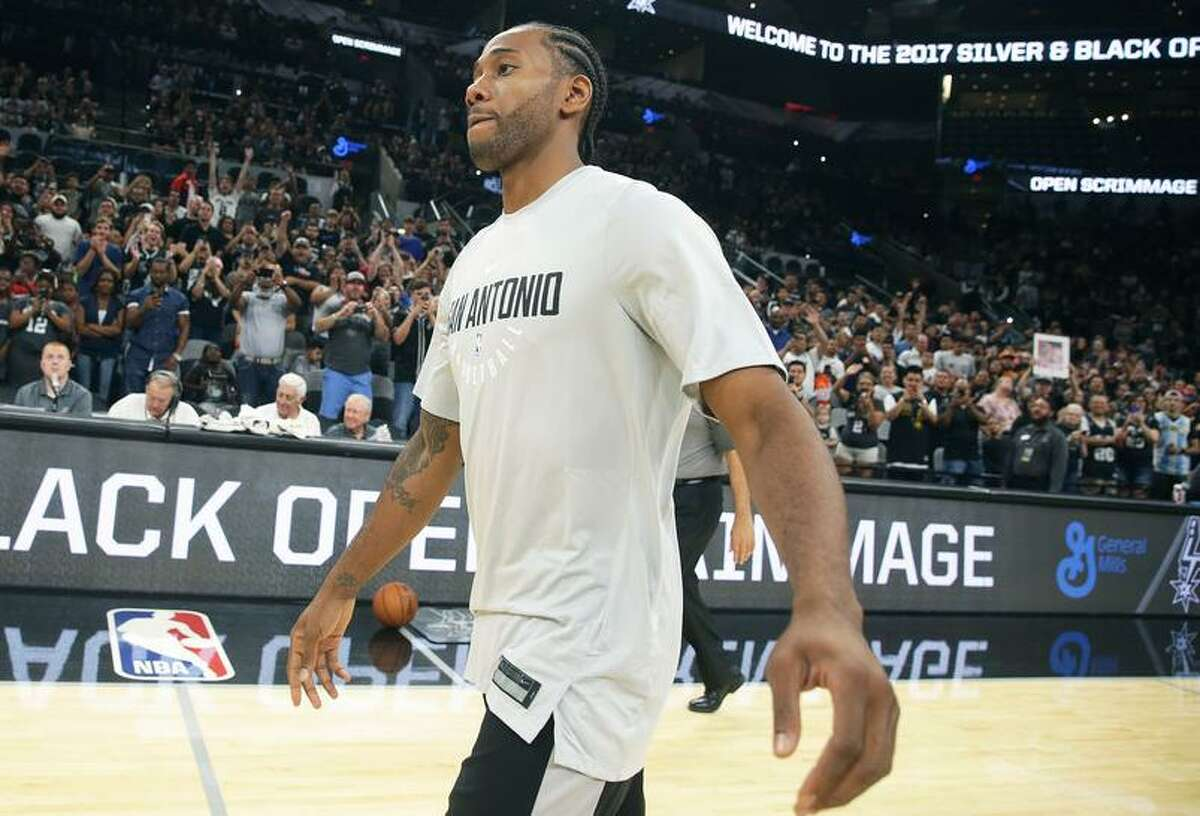 Kawhi Leonard makes an appearance after the Spurs' Silver and Black intrasquad scrimmage at the AT&T Center on Sept. 30, 2017.