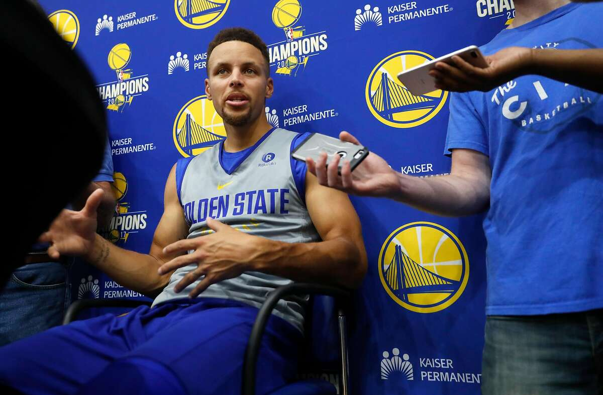 Golden State Warriors' Steph Curry speaks with the media at the Warriors practice facility in Oakland, Ca. on Wednesday October 11, 2017.