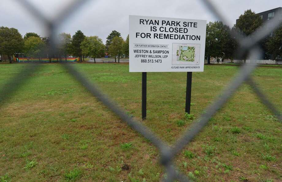Ryan Park in South Norwalk is fenced in for remediation, but no work at the site was visible on Monday. Photo: Alex Von Kleydorff / Hearst Connecticut Media / Norwalk Hour