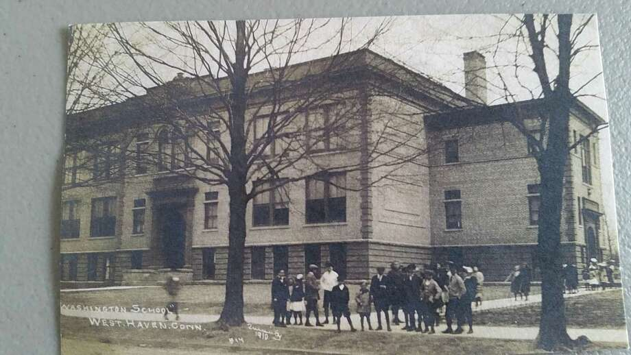 "West Haven's Washington School - circa 1909. The West Haven Historical Society's 3rd Annual ""Burgers, Brews and History, Too"" Walking Tour of the area from the churches on the Green to the Brown Street-Washington Avenue area will take place Saturday, Oct. 12, 2017 at 10 a.m. Photo: Contributed Photo / West Haven Historical Society /"