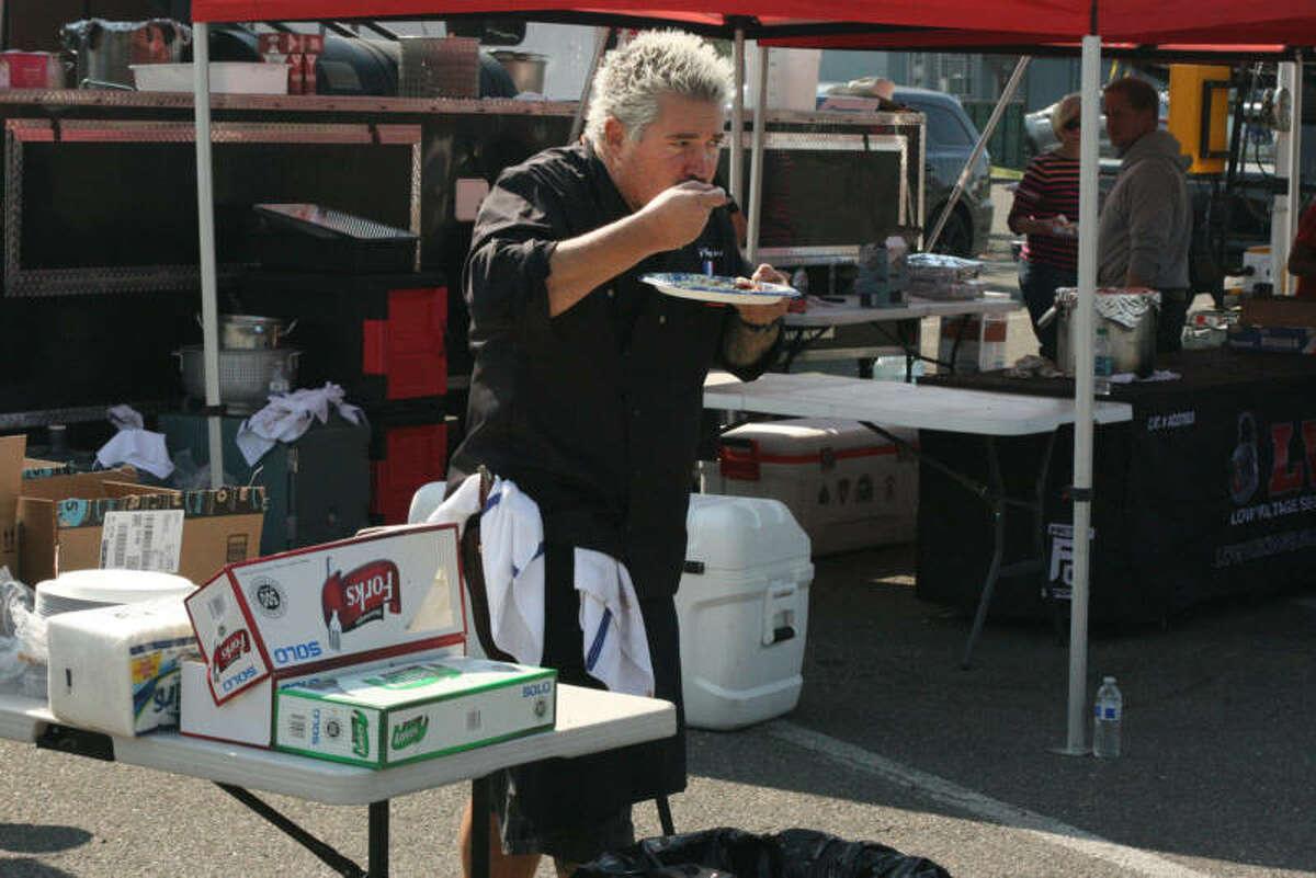 Guy Fieri takes a lunch break at the Santa Rosa Veterans Memorial Building, Oct. 12, 2017.