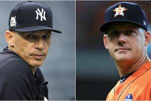 Split photo of Astros and Yankees players.