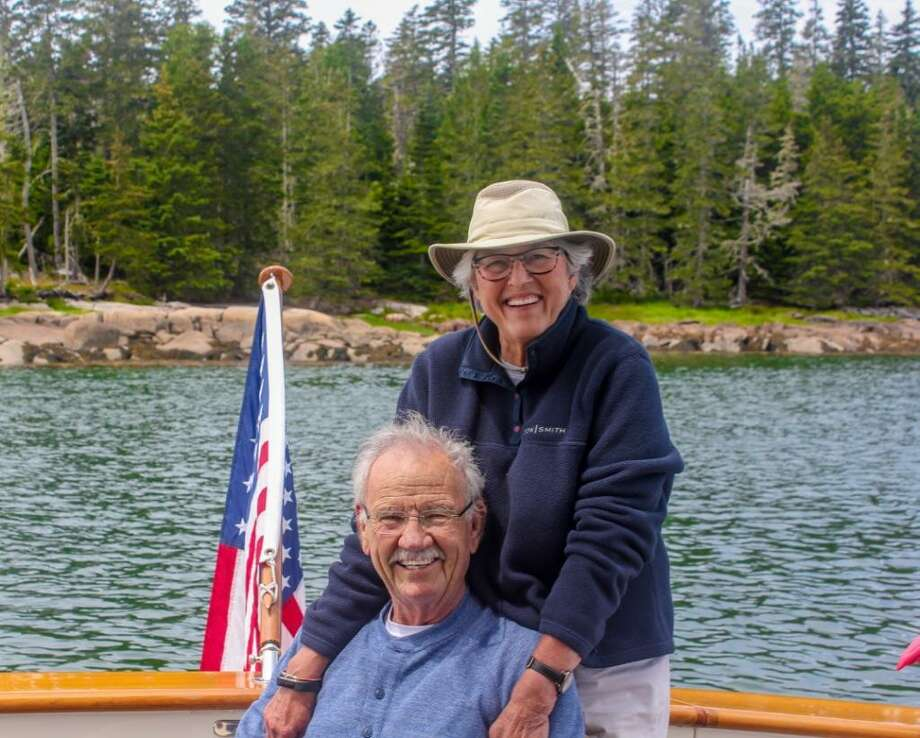 The captain and his mate — Phil and Linda Hardberger of San Antonio, aboard their 55-foot trawler naimed Aimless. Photo: Courtesy Photo