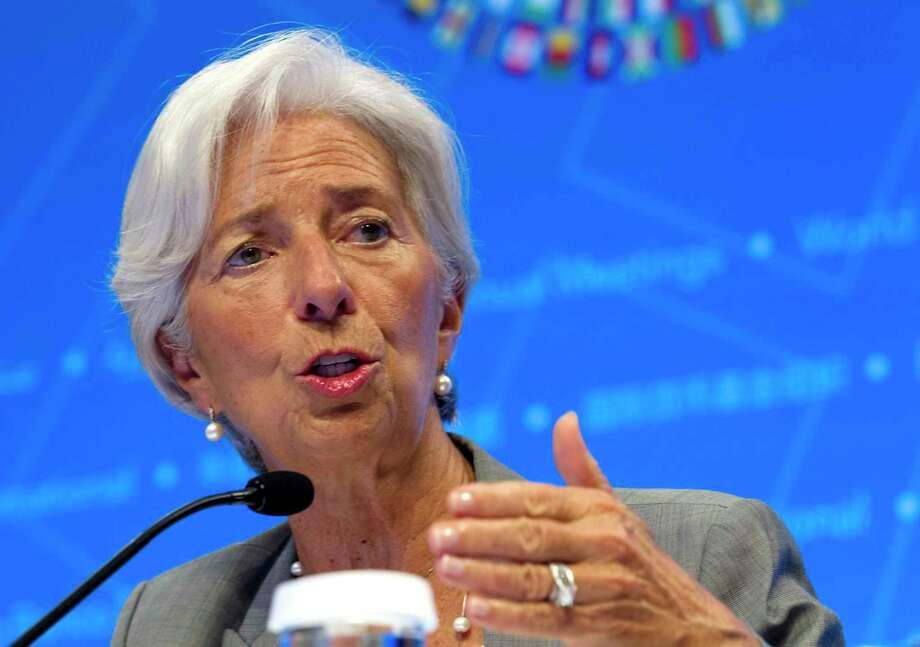 International Monetary Fund (IMF) Managing Director Christine Lagarde, speaks during a news conference at World Bank/IMF Annual Meetings in Washington, Thursday, Oct. 12, 2017. ( AP Photo/Jose Luis Magana) ORG XMIT: DCJL104 Photo: Jose Luis Magana / FR159526 AP