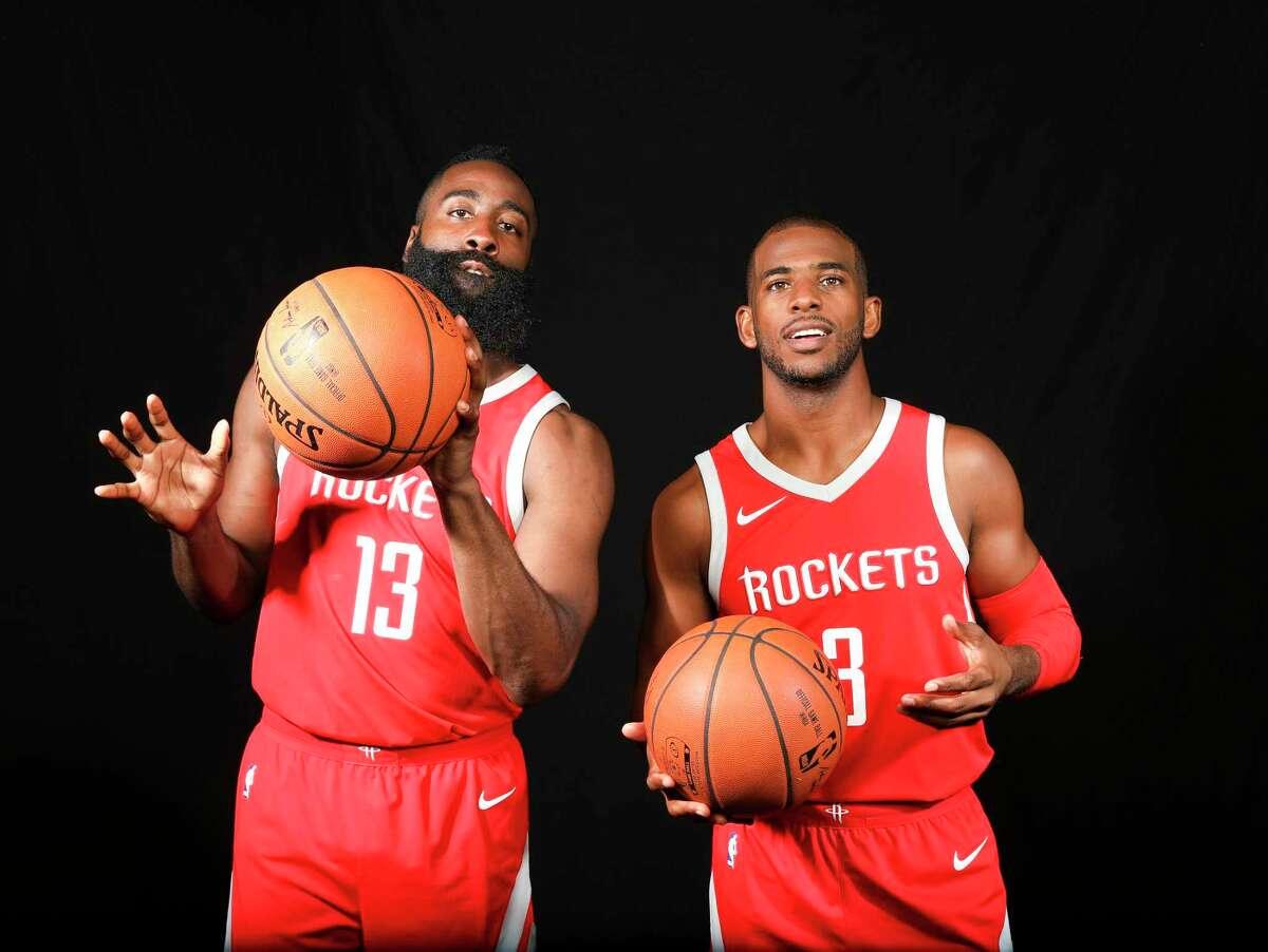 Houston Rocket's James Harden (13) and Chris Paul (3) during media day on Monday, Sept. 25, 2017, in Houston. ( Elizabeth Conley / Houston Chronicle )