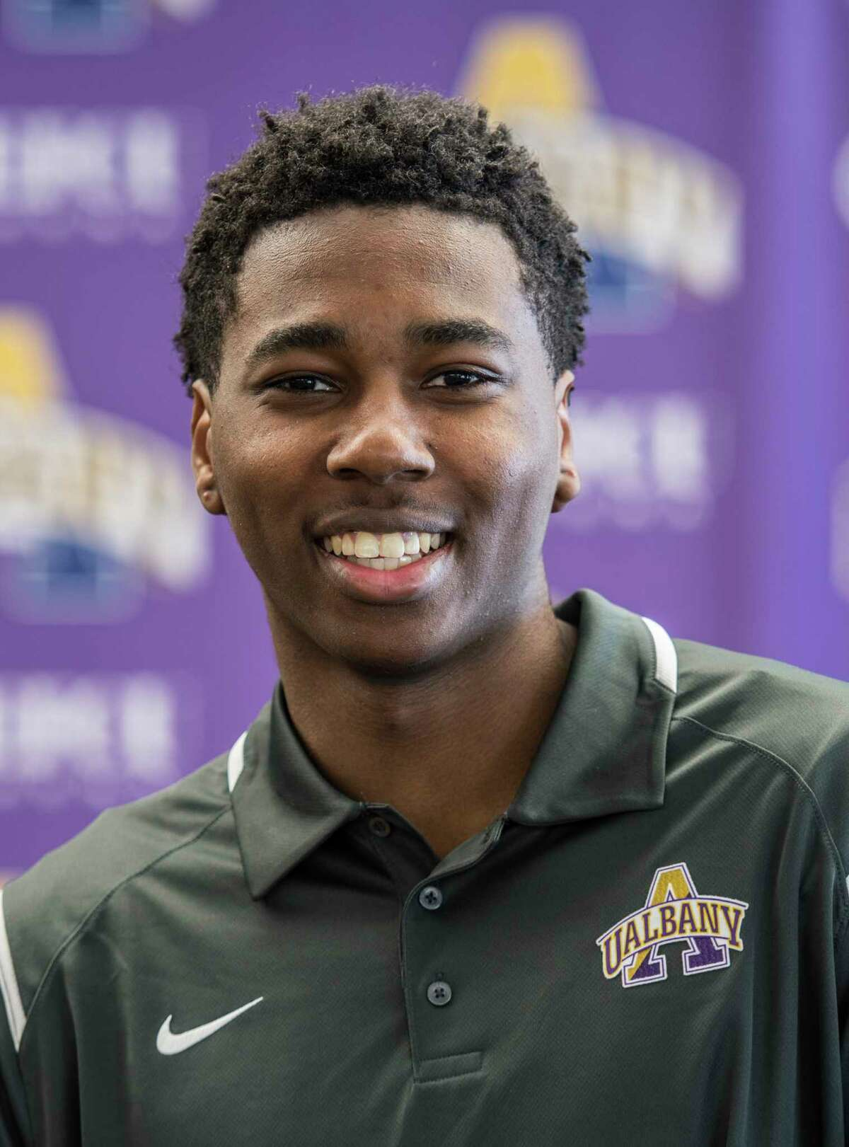 Redshirt sophomore Xavier Cochran at the press day for the University at Albany Basketball team held on campus Thursday Oct. 12, 2017 in Albany, (Skip Dickstein/Times Union)